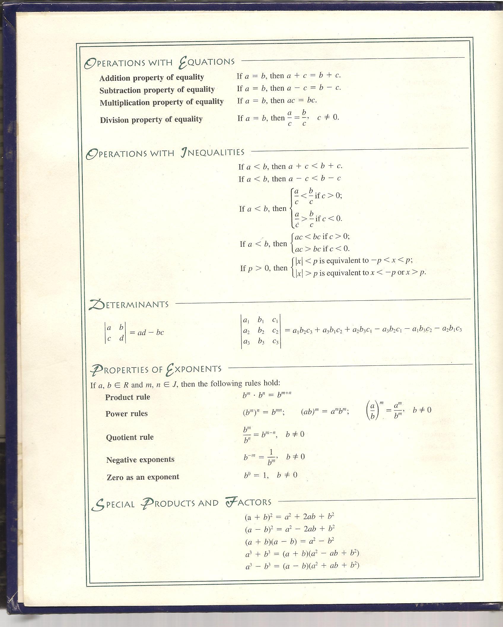 Algebra Formulas Cheat Sheet Elementary algebra reference